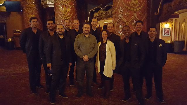 Jeff Ritter and Mindy Ellard, hanging with Straight No Chaser, the nicest guys in show business, after their Nov. 27, 2015 performance at the Fox Theatre.