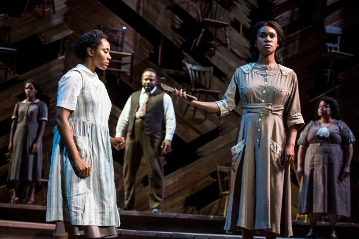 Bianca Horn (Ensemble/Church Lady), Adrianna Hicks (Celie), Gavin Gregory (Mister), N'Jameh Camara (Nettie)and Angela Birchett (Ensemble/Church Lady)and the North American tour cast of THE COLOR PURPLE. Photo by Matthew Murphy, 2017.