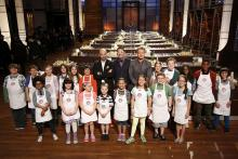 "MASTERCHEF: Judges Bastianich, Ramsay and Elliot with the Contestants in the ""Junior Edition: The Class of 2015"" Season Premiere episode of MASTERCHEF airing Tuesday, Jan. 6 (8:00-9:00PM ET/PT) on FOX. CR: Greg Gayne / FOX. © FOX Broadcasting Co."
