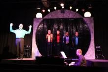 New Line Theatre's OUT ON BROADWAY: THE THIRD COMING runs through Aug 19, 2017. From left: Sean Michael, Ken Haller, Keith Thompson, Dominic Dowdy-Windsor and Mike Dowdy-Windsor with Nate Jackson on piano. Photo Credit: Jill Ritter Lindberg
