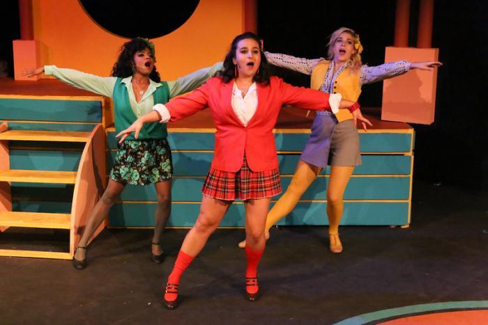 Cameisha Cotton, Sicily Mathenia and Larissa White in New Line Theatre's HEATHERS, through 10/24/15. Photo Credit: Jill Ritter Lindberg