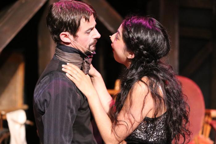 "Todd Schaefer and Cherlynn Alvarez in New Line Theatre's ""The Threepenny Opera."" Photo Credit: Jill Ritter Lindberg"