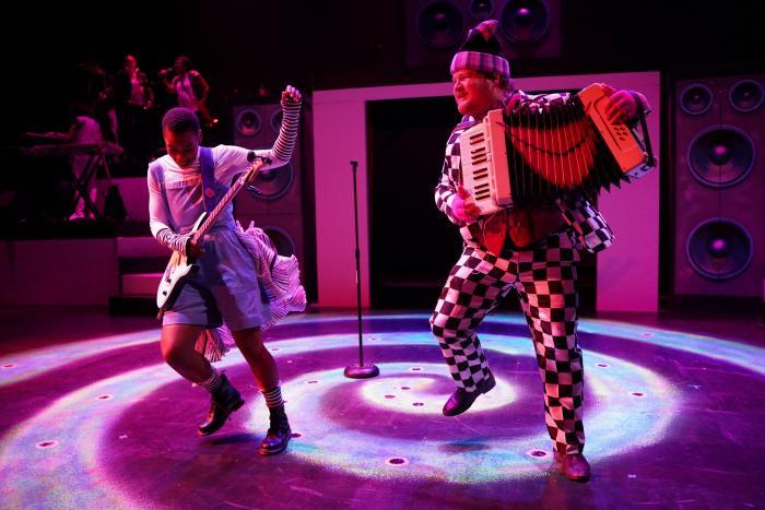 Sankofa B. Soleil as Alice and Patrick Blindauer as Cheshire Cat. Photo Credit: Metro Theatre Company