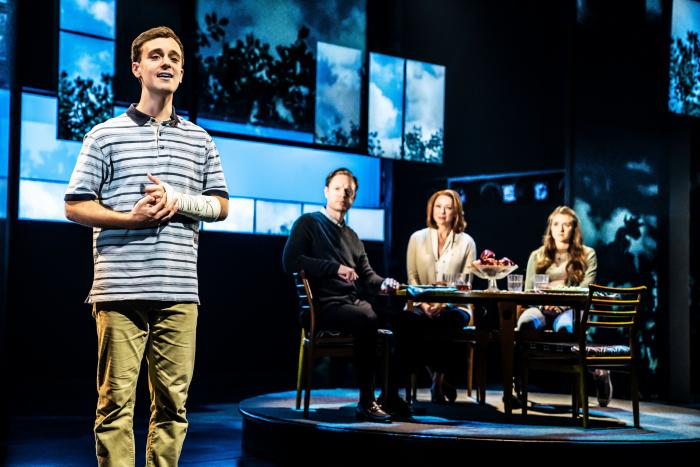Steven Christopher Anthony as Evan Hansen, with John Hemphill, Claire Rankin and Stephanie La Rochelle as the Murphys in the 2019 National Tour of DEAR EVAN HANSEN, photo credit: the DEAR EVAN HANSEN Tour