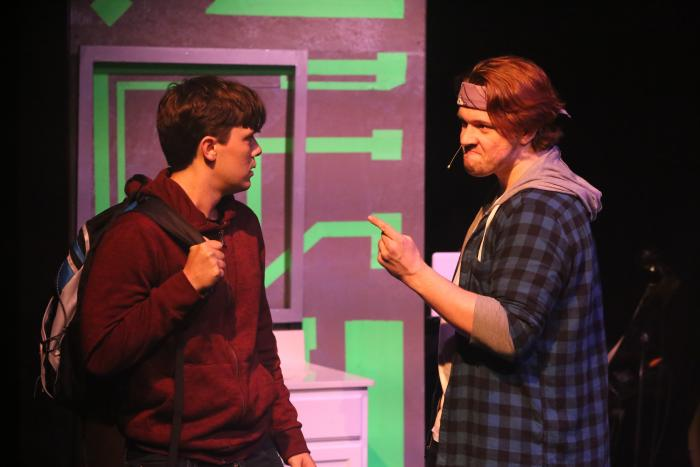 Jayde Mitchell and Evan Fornachon in BE MORE CHILL, New Line Theatre, through June 22, 2019. Photo Credit: Jill Ritter Lindberg